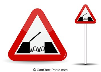 Road sign Warning Drawbridge. In Red Triangle are schematically depicted coast, water and bridge. Vector Illustration.