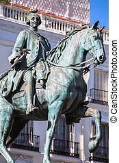 King Carlos III Equestrian Statue Famous Tio Pepe Sign Puerta del Sol Gate of the Sun Most Famous Square in Madrid Spain