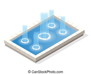 Isometric fountain water spout spray in basin isolated on...