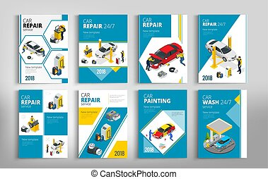 Flyers for Car repair or car service concept. Template of...