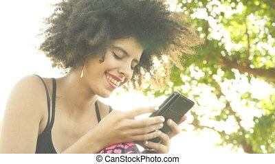 Young attractive woman with smartphone - Woman with mobile...