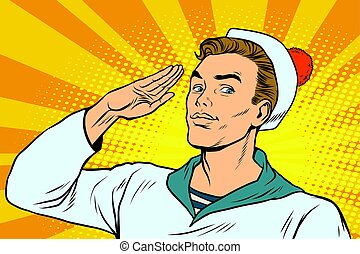 beautiful sailor salutes, the marine profession. Pop art...