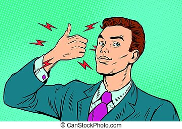 businessman like hand gesture. Pop art retro vector...