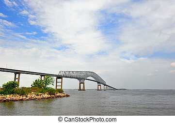 Bridge over the Chesapeake Bay - Key bridge spanning the...