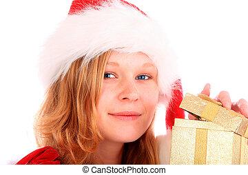 箱子, 黃金, 禮物, 打開, 聖誕老人, 小姐