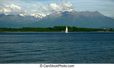 Viverone lake and the Alps in Piedmont - Italy - Viverone...