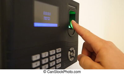 Fingerprint Employee Biometric Time Clock - Shot of...