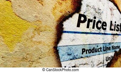 Price list grunge concept