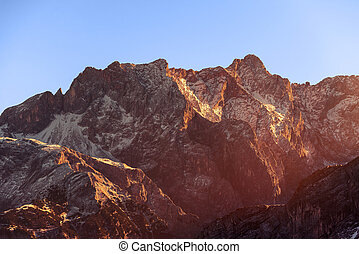 Rays of sunset on the tops of the mountains - Gokyo region,...