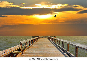 Pier into the sunset - Pier on the Chesapeake Bay leading to...