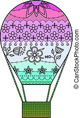Air balloon with transition colors vector
