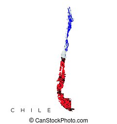 Isolated Chilean map with its flag, Vector illustration