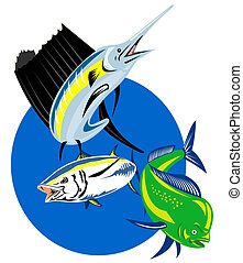 Sailfish dolphin fish tuna - retro style illustration of a...