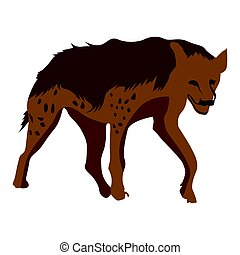 Isolated hyena sketch - Isolated hyena on a white...