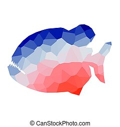 Low poly piranha - Isolated colored low poly piranha, Vector...