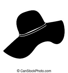 Isolated beach hat silhouette on a white background, Vector...
