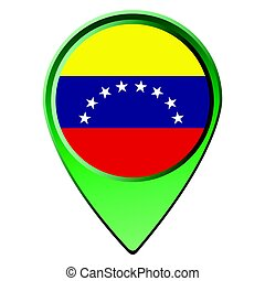 Isolated Venezuelan flag on a map pin, Vector illustration