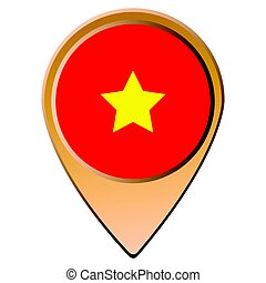 Isolated Vietnamese flag on a map pin, Vector illustratino