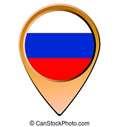 Isolated Russian flag on a map pin, Vector illustration