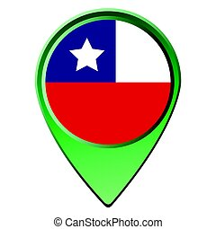 Isolated Chilean flag on a map pin, Vector illustration