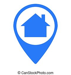 Isolated map pin with a house symbol, Vector illustration