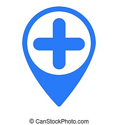Isolated map pin with an add symbol, Vector illustration