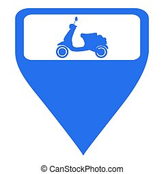 Isolated map pin with a motorcycle icon, Vector illustration