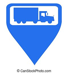 Isolated map pin with a truck icon, Vector illustration
