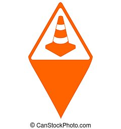 Isolated map pin with a traffic cone icon, Vector...