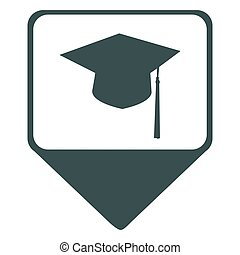 Isolated map pin with a mortarboard icon, Vector...