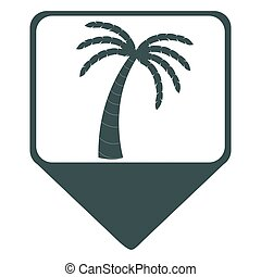 Isolated map pin with a palm tree icon, Vector illustration
