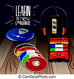 Learn a language - Set of cassetttes and cds with different...