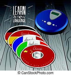 Learn a language - Set of cds with different flags, Vector...