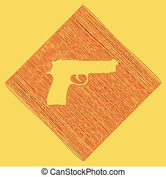 Gun sign illustration. Vector. Red scribble icon obtained as...
