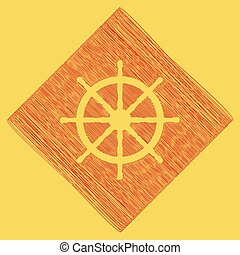 Ship wheel sign. Vector. Red scribble icon obtained as a result of subtraction rhomb and path. Royal yellow background.