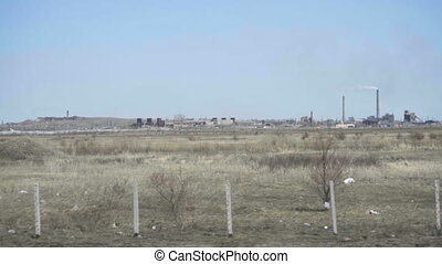 Industrial landscape in Kazakhstan - View from highway...