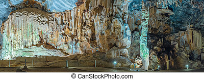 Panorama of Van Zyl Hall in the Cango Caves - Panorama of...