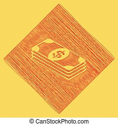 Bank Note dollar sign. Vector. Red scribble icon obtained as...
