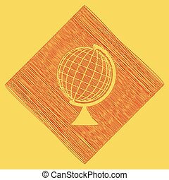 Earth Globe sign. Vector. Red scribble icon obtained as a...