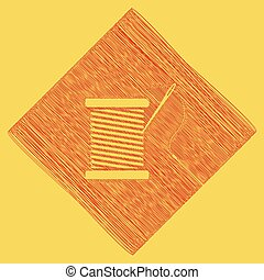 Thread with needle sign illustration. Vector. Red scribble icon obtained as a result of subtraction rhomb and path. Royal yellow background.