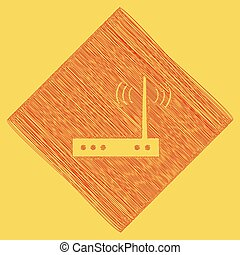 Wifi modem sign. Vector. Red scribble icon obtained as a...