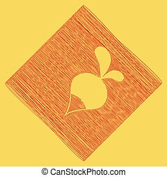 Radish simple sign. Vector. Red scribble icon obtained as a result of subtraction rhomb and path. Royal yellow background.