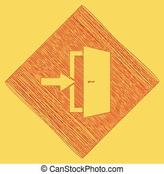 Door Exit sign. Vector. Red scribble icon obtained as a result of subtraction rhomb and path. Royal yellow background.