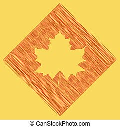 Maple leaf sign. Vector. Red scribble icon obtained as a result of subtraction rhomb and path. Royal yellow background.