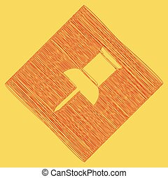 Pin push sign. Vector. Red scribble icon obtained as a result of subtraction rhomb and path. Royal yellow background.