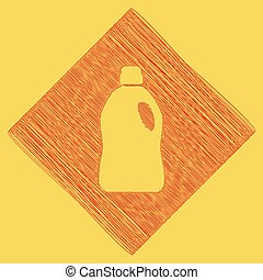 Plastic bottle for cleaning. Vector. Red scribble icon...