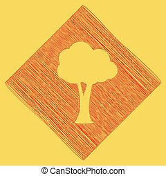 Tree sign illustration. Vector. Red scribble icon obtained as a result of subtraction rhomb and path. Royal yellow background.