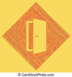 Door sign illustration. Vector. Red scribble icon obtained as a result of subtraction rhomb and path. Royal yellow background.