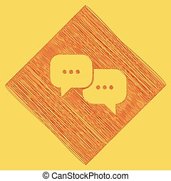 Speech bubbles sign. Vector. Red scribble icon obtained as a...