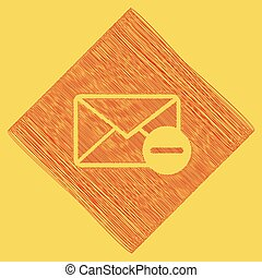 Mail sign illustration with remove mark. Vector. Red scribble icon obtained as a result of subtraction rhomb and path. Royal yellow background.